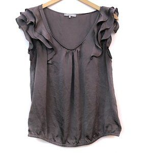 ANTHROPOLOGIE VIOLET CLAIRE Gray Purple Ruffle Top